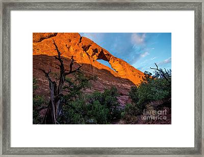 Framed Print featuring the photograph Skyline Arch At Sunset - Arches National Park - Utah by Gary Whitton