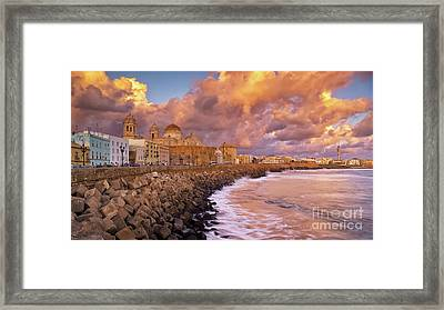 Skyline From Campo Del Sur Cadiz Spain Framed Print