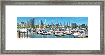 Skyline Harbor Pano Framed Print