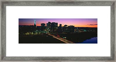 Skyline, Hartford, Sunset, Connecticut Framed Print