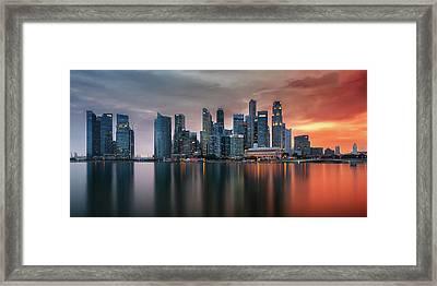 Skyline, Marina Bay, Singapore Framed Print by Nico Trinkhaus