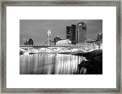 Skyline Of Columbus Ohio At Night - Black And White Framed Print by Gregory Ballos
