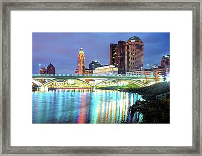 Skyline Of Columbus Ohio At Night Framed Print by Gregory Ballos