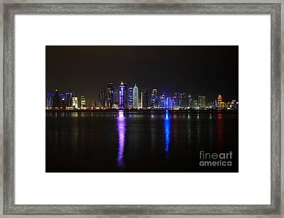 Skyline Of Doha, Qatar At Night Framed Print