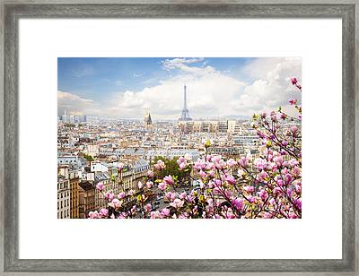 skyline of Paris with eiffel tower Framed Print
