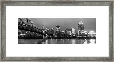 Skyline Panorama Of Cincinnati Ohio - Usa - Black And White Framed Print by Gregory Ballos