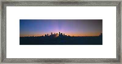 Skyline, Sunrise, Denver, Co Framed Print by Panoramic Images