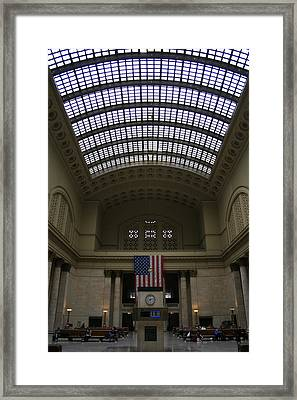 Skylit Chicago Union Station  Framed Print by Christopher Kirby