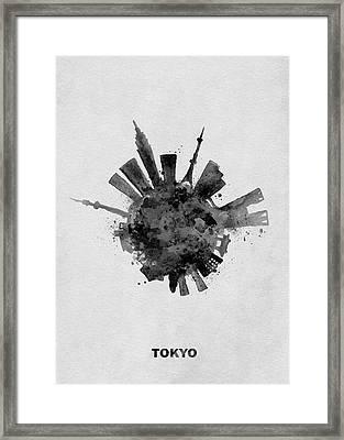 Black Skyround / Skyline Art Of Tokyo, Japan Framed Print