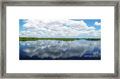 Skyscape Reflections Blue Cypress Marsh Conservation Area Near Vero Beach Florida C2 Framed Print