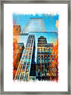 Skyscraper In New York City Framed Print by Lanjee Chee