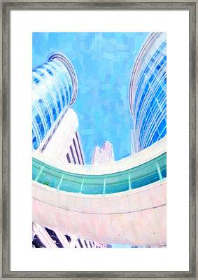 Skyscrapers Against Blue Sky Framed Print by Lanjee Chee