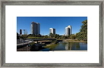 Skyscrapers In A City, Parc De La Framed Print