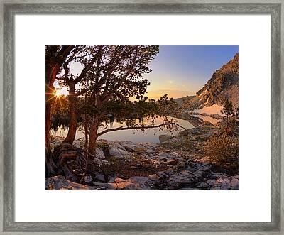 Skytop Lake Sunrise Framed Print by Leland D Howard