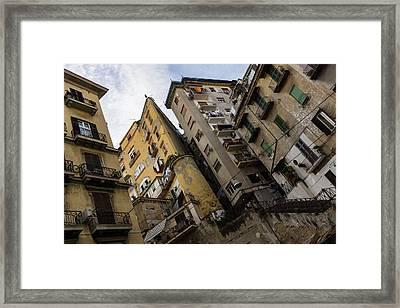 Skyward In Naples Italy - Spanish Quarters Take Four Framed Print