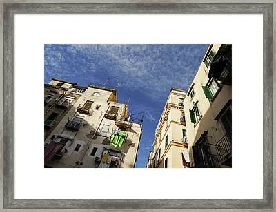 Skyward In Naples Italy - Spanish Quarters Take One Framed Print