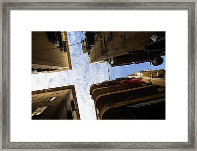 Skyward In Naples Italy - Spanish Quarters Take Two Framed Print
