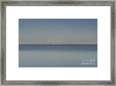 Skyway Bridge In Blue Framed Print by David Lee Thompson