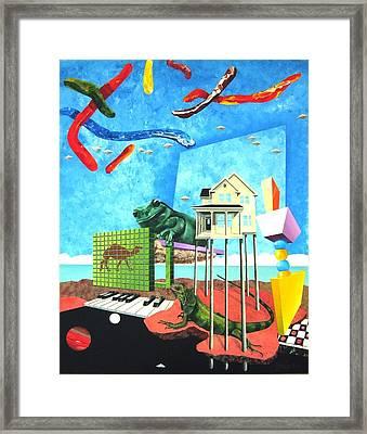 Skyworms With Iguana And Giant Tree Frog Framed Print by Jeffrey Frisch