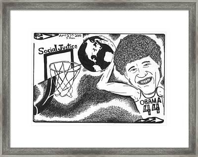 Slam Dunk Social Justice Framed Print by Yonatan Frimer Maze Artist