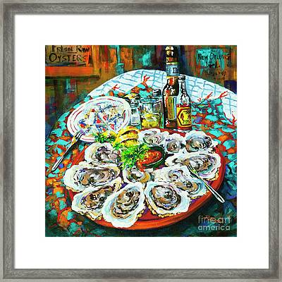 Framed Print featuring the painting Slap Dem Oysters  by Dianne Parks