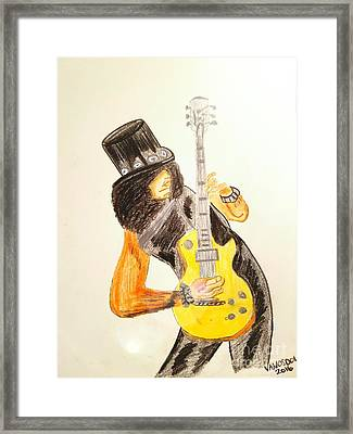 Slash Shredding Les Paul Guitar - No Border Framed Print
