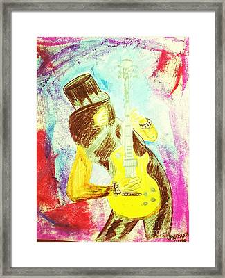 Slash Shredding Les Paul Guitar Framed Print