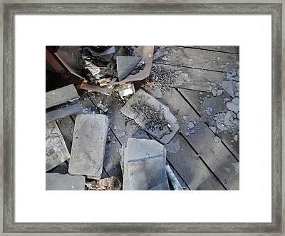 Slate On Floor Boards Framed Print by Terry  Wiley