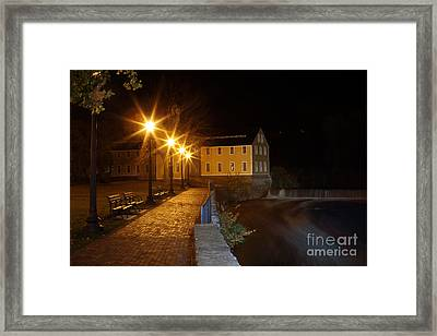 Slater Mill At Night Framed Print