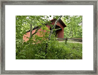 Slaughter House Covered Bridge In Northfield Vermont Framed Print by George Robinson