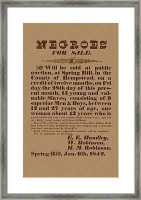 Slave Auction Framed Print by War Is Hell Store