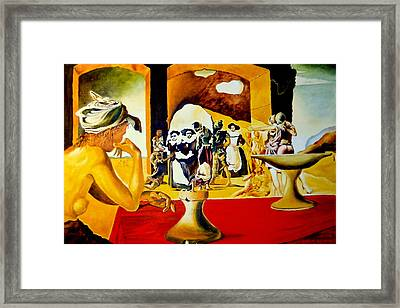 Framed Print featuring the painting Slave Market With The Invisible Bust Of Voltaire by Henryk Gorecki