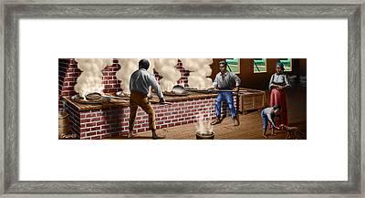 Slaves Refining Sugar Cane Jamaica Train Historical Old South Americana Life  Framed Print by Walt Curlee