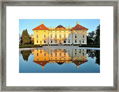 Slavkov Castle Reflected In Water Framed Print