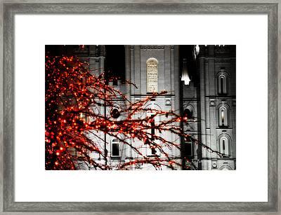 Slc Temple Red White N Black Framed Print by La Rae  Roberts
