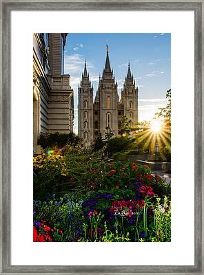 Slc Temple Sunburst Framed Print