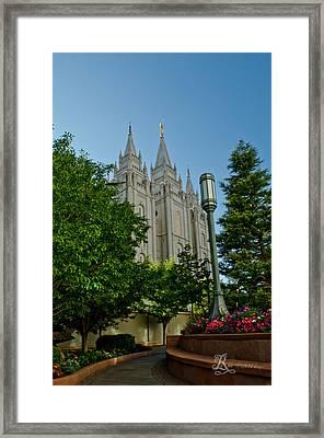 Slc Temple Walk Framed Print by La Rae  Roberts