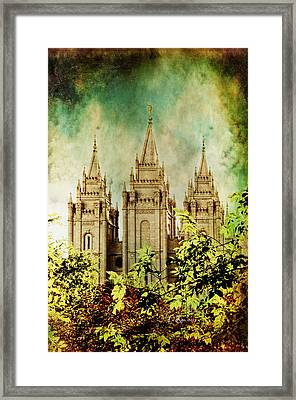 Slc Vintage Green Framed Print by La Rae  Roberts