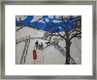 Framed Print featuring the painting Sled Riding by Jeffrey Koss