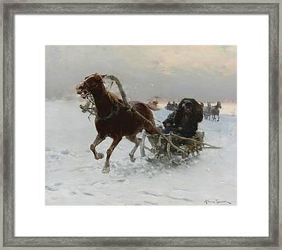 Sledding Caravan Framed Print by Alfred Kowalski