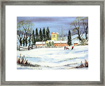 Framed Print featuring the painting Sledding With Dad by Bill Holkham