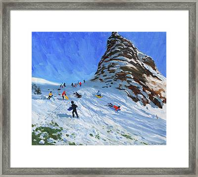 Sledging, Chrome Hill, Derbyshire, Peak District Framed Print by Andrew Macara