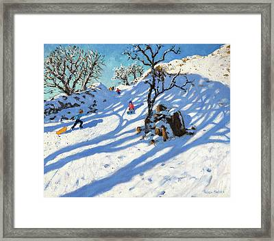 Sledging, Glutton Bridge, Buxton, Derbyshire Framed Print by Andrew Macara