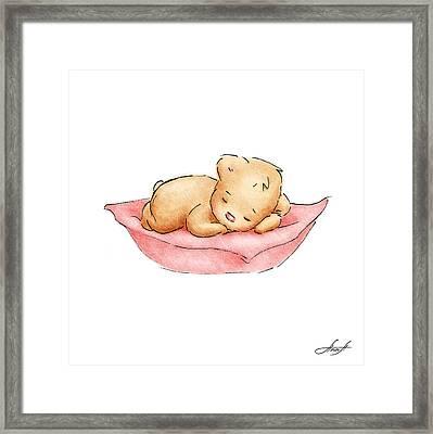 Sleeping Baby Bear Framed Print by Anna Abramska
