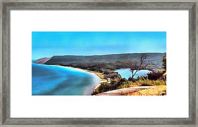 Sleeping Bear Dunes Panorama Painting Framed Print by Dan Sproul