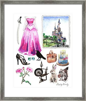 Sleeping Beauty Aurora Costume Watercolor Disney Princess Castle Dress Classic Disney World Framed Print by Laura Row