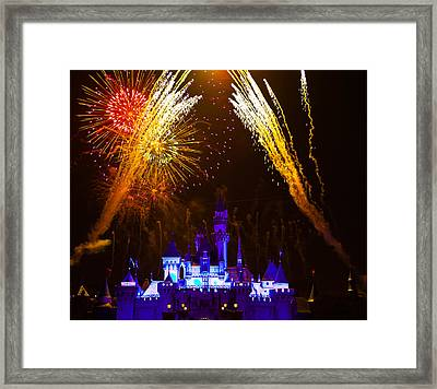 Sleeping Beauty Castle And Fireworks Framed Print by Sam Amato