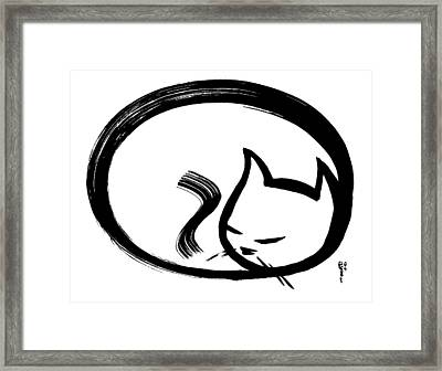 Sleeping Cat Framed Print by Poul Costinsky