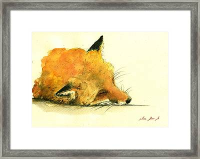 Sleeping Fox Framed Print by Juan  Bosco
