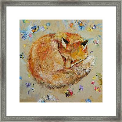 Sleeping Fox Framed Print by Michael Creese
